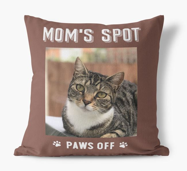 'Mom's Spot, Paws Off' - Cat Photo Upload Pillow