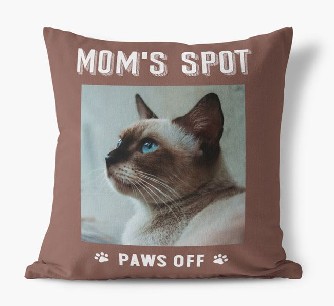 'Mom's Spot, Paws Off' - Siamese Photo Upload Pillow
