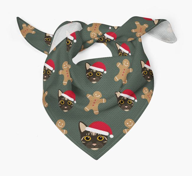 Gingerbread Pattern Christmas Bandana for your Bengal