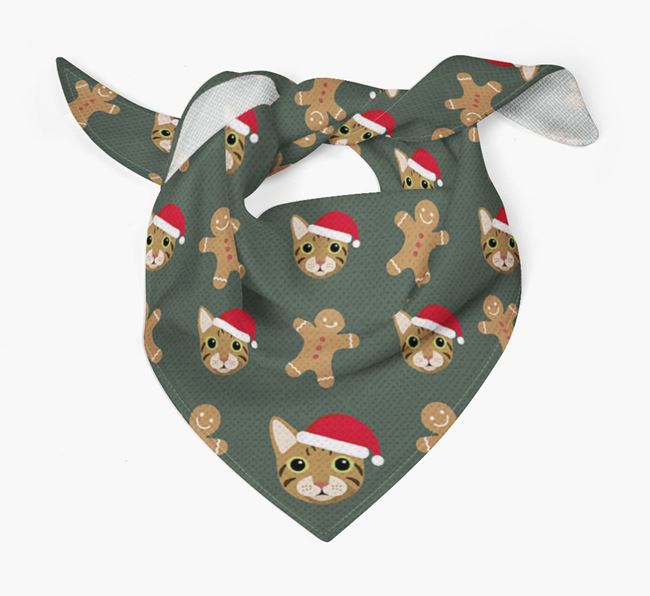Gingerbread Pattern Christmas Bandana for your Cat