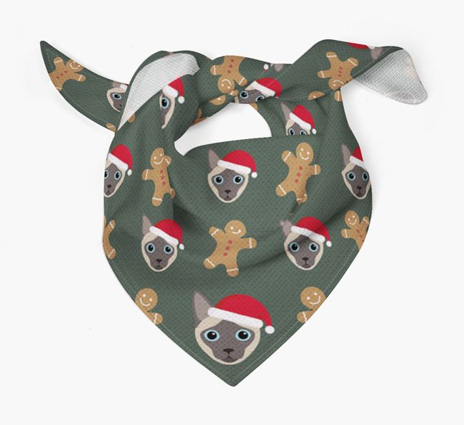 Gingerbread Pattern Christmas Bandana for your Siamese