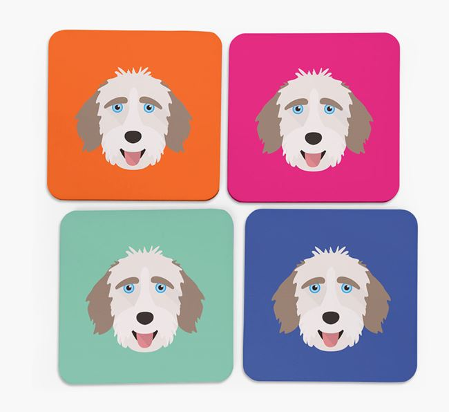 Aussiedoodle Icon Coasters 4 pack