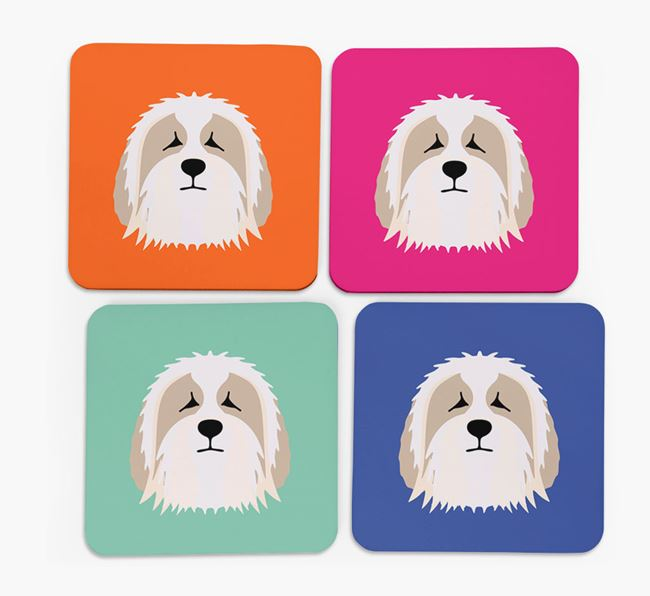 Bearded Collie Icon Coasters 4 pack