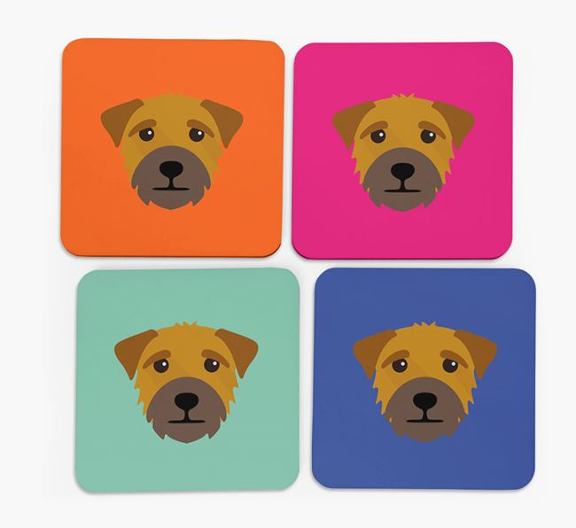 Border Terrier Icon Coasters 4 pack