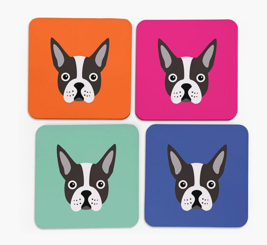 Boston Terrier Icon Personalised Boston Terrier Coasters Set Of 4 Yappy Com