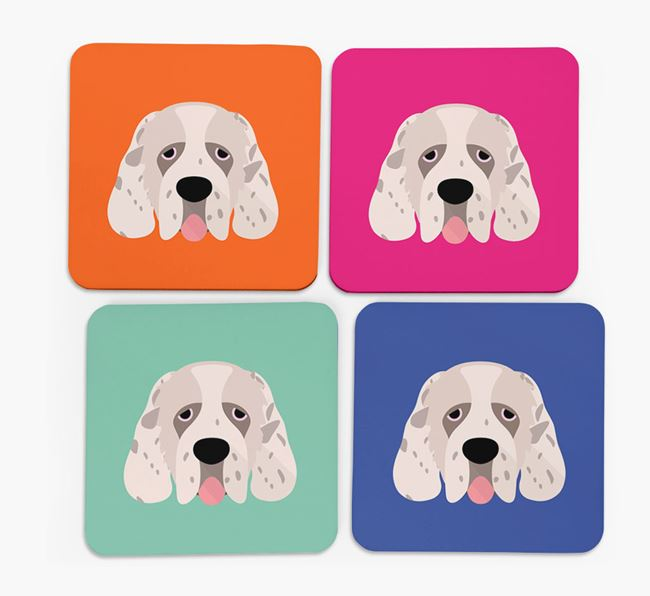 Clumber Spaniel Icon Coasters 4 pack