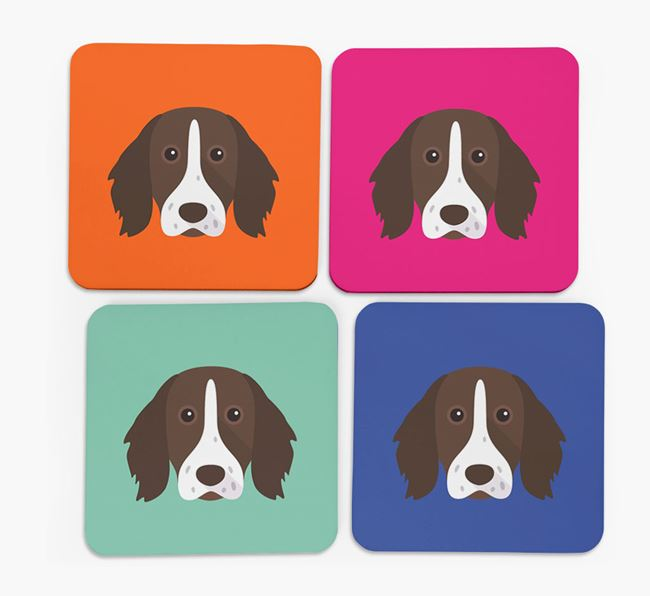 Longhaired Pointer Icon Coasters 4 pack