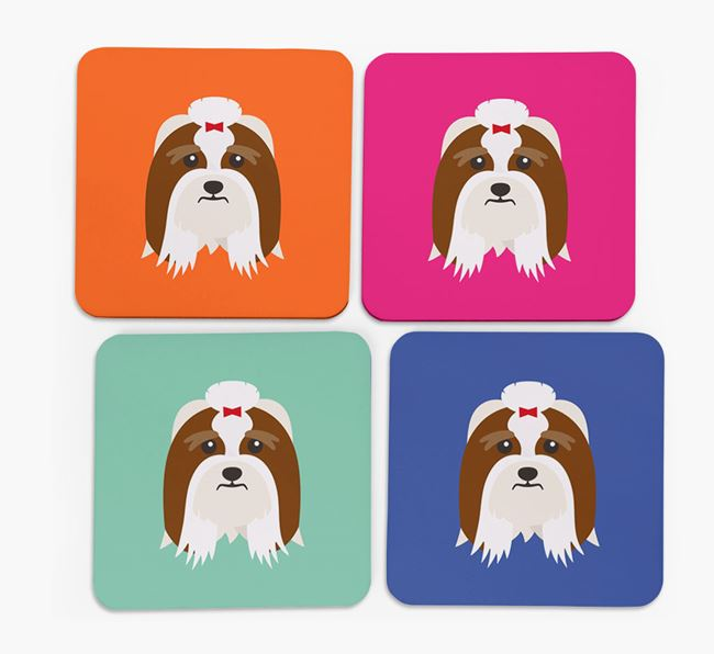 Lhasa Apso Icon Coasters 4 pack