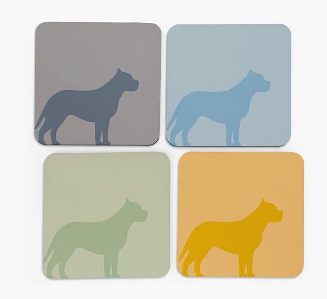 Pit Bull Terrier Silhouette Coasters 4 pack