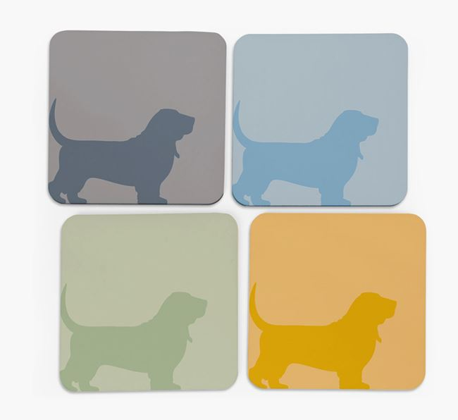 Basset Hound Silhouette Coasters 4 pack