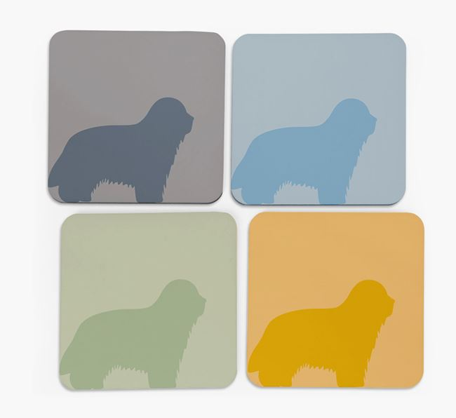 Bearded Collie Silhouette Coasters 4 pack