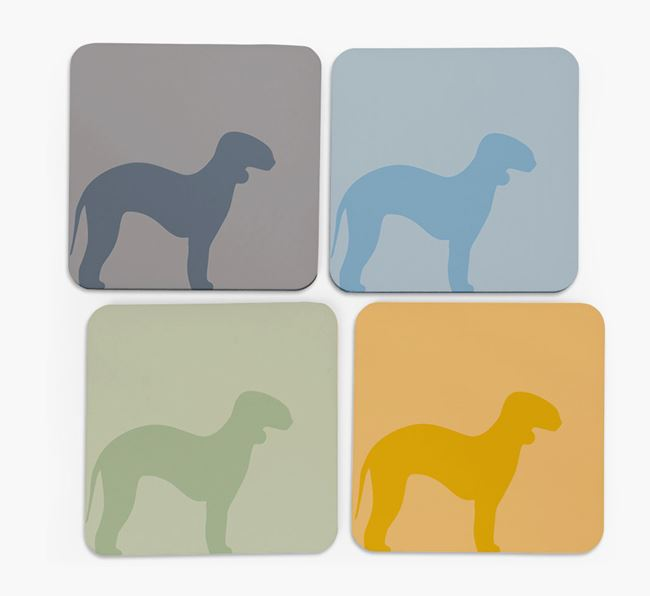 Bedlington Silhouette Coasters 4 pack