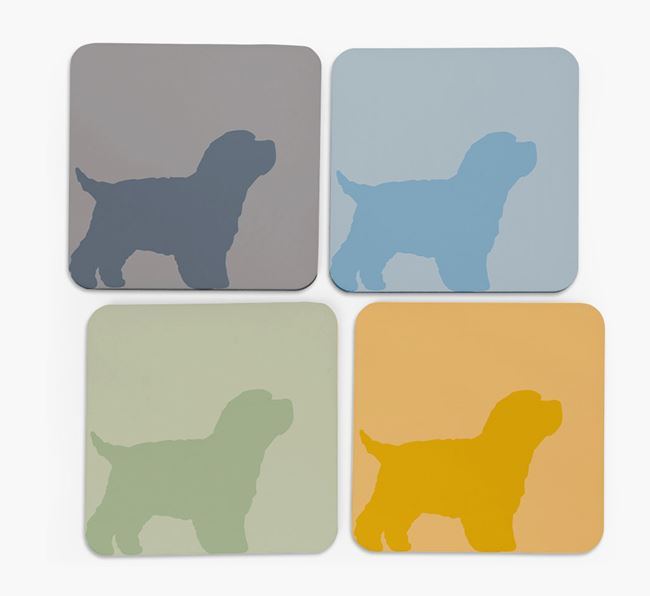 Bich-poo Silhouette Coasters 4 pack