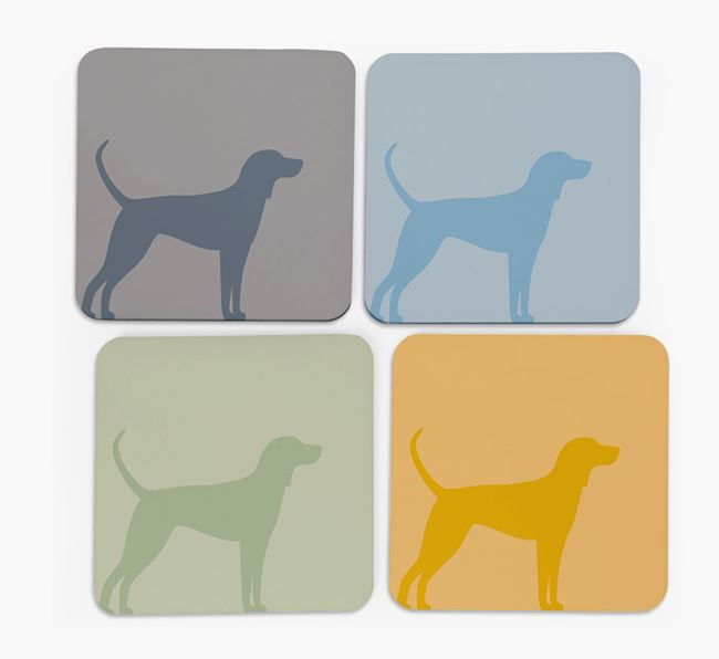 Coonhound Silhouette Coasters 4 pack