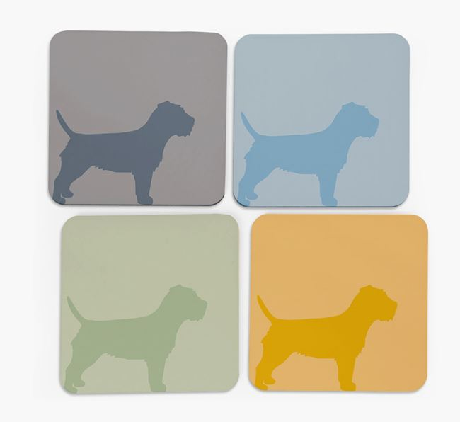 Border Terrier Silhouette Coasters 4 pack