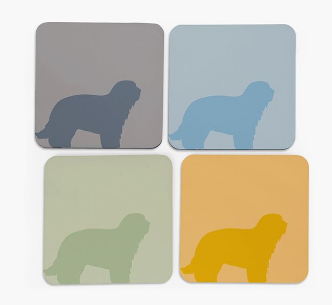 Catalan Sheepdog Silhouette Coasters 4 pack