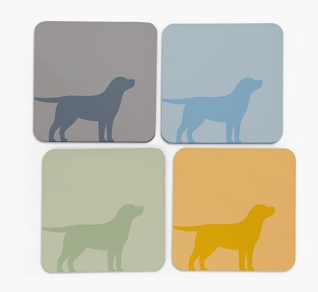 Golden Lab Silhouette Coasters 4 pack