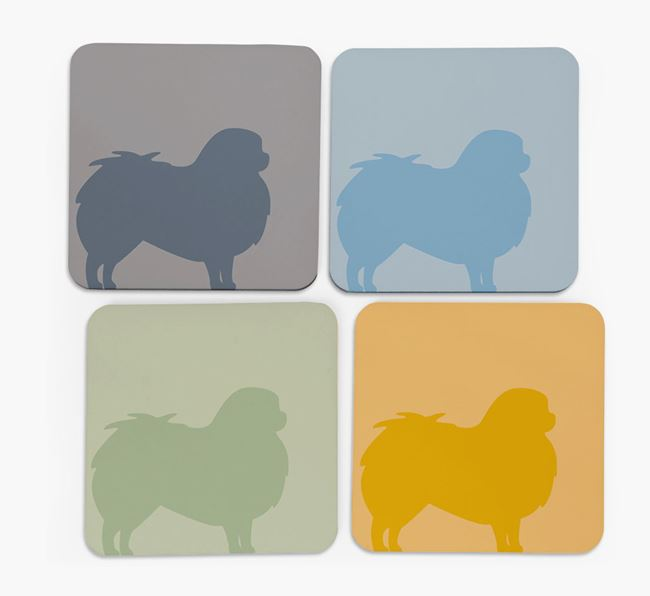 Japanese Chin Silhouette Coasters 4 pack