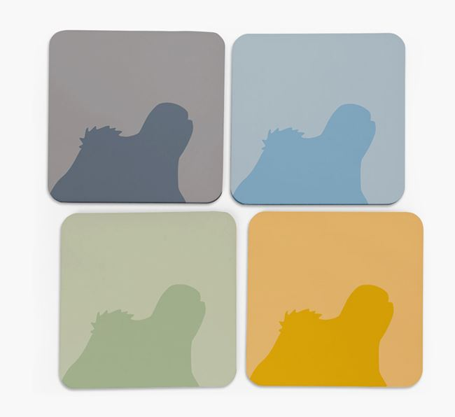 Lhasa Apso Silhouette Coasters 4 pack