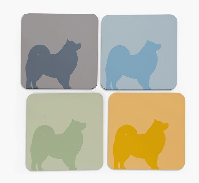 Samoyed Silhouette Coasters 4 pack