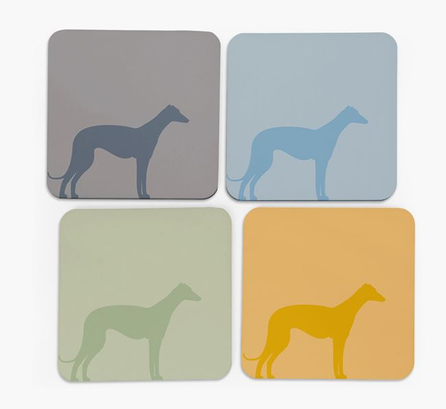 Whippet Silhouette Coasters 4 pack