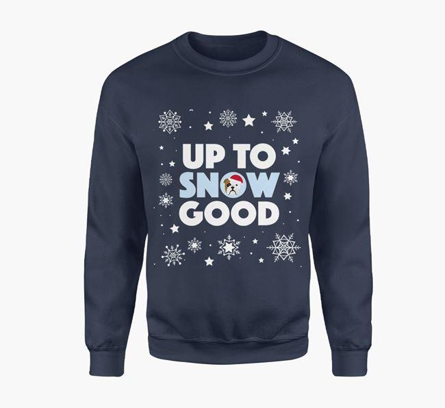 'Up To Snow Good' - Personalised English Bulldog Jumper