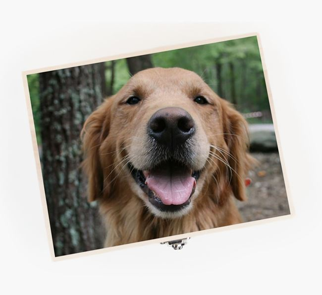 Personalised Photo Upload Wooden Box for your Golden Retriever