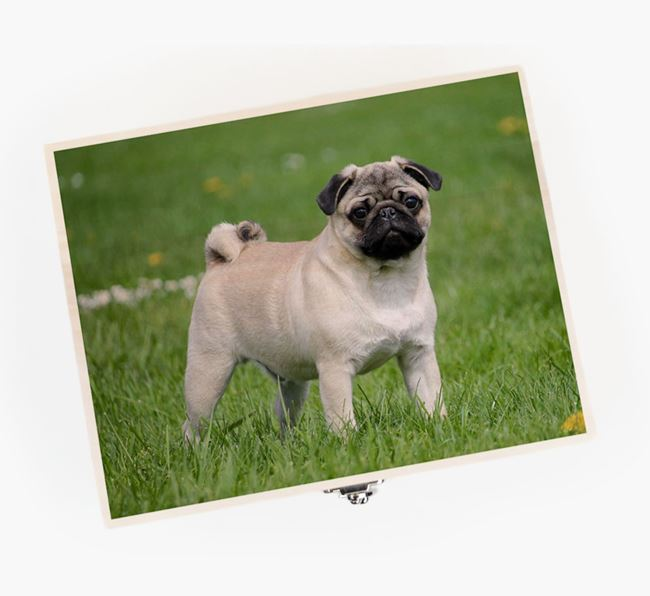Personalised Photo Upload Wooden Box for your Pug