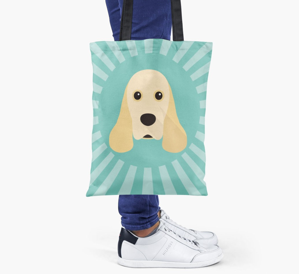 American Cocker Spaniel All you need is love {colour} shopper bag held by woman