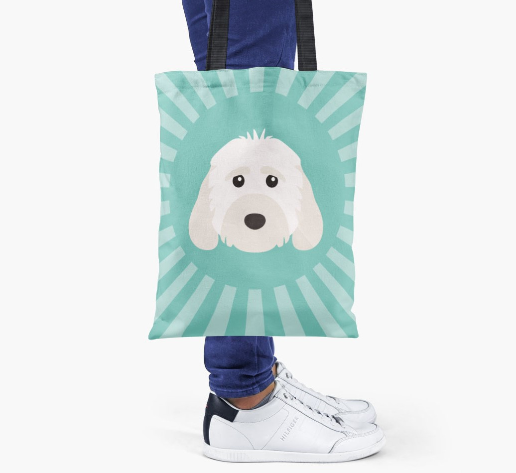 Cockapoo All you need is love {colour} shopper bag held by woman
