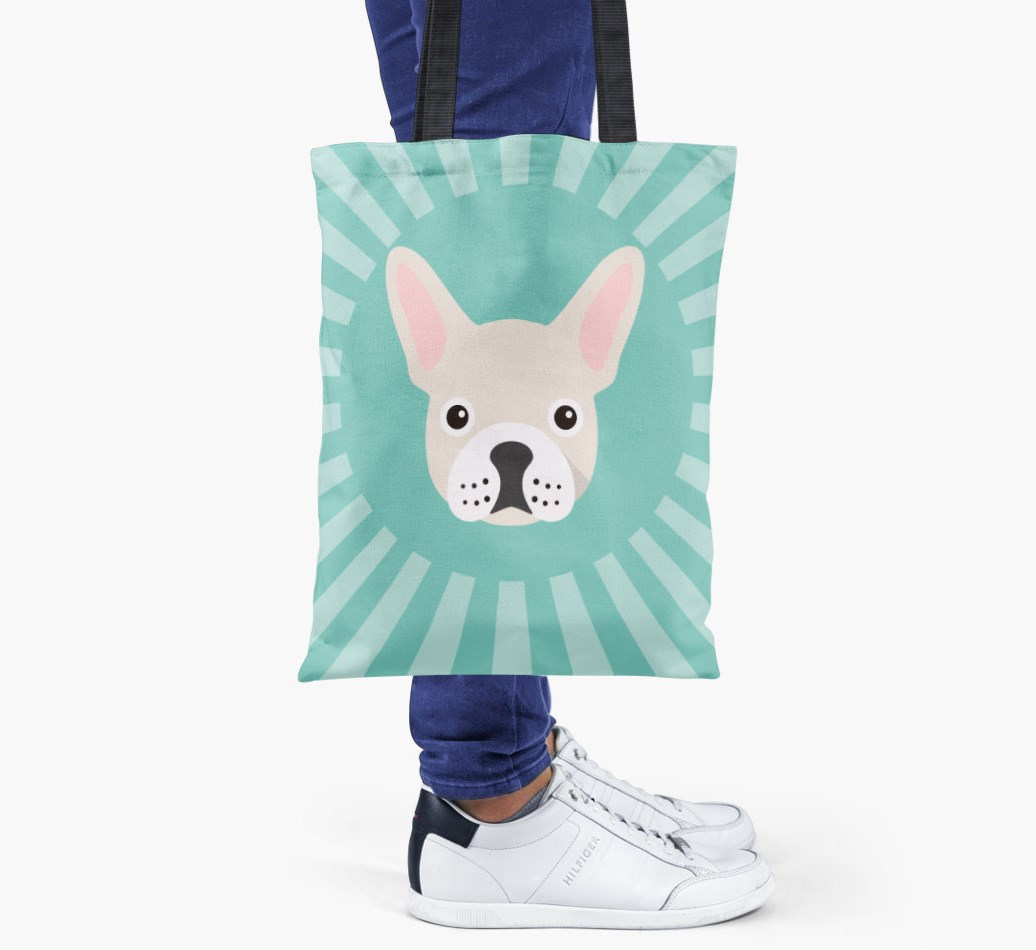 French Bulldog All you need is love {colour} shopper bag held by woman