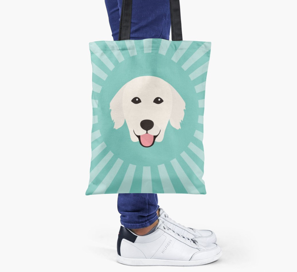 Golden Retriever All you need is love {colour} shopper bag held by woman