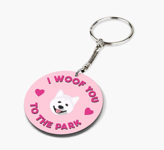 'To the Park and Back' - Personalized Akita Double-Sided Keyring