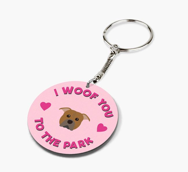 'To the Park and Back' - Personalized American Pit Bull Terrier Double-Sided Keyring