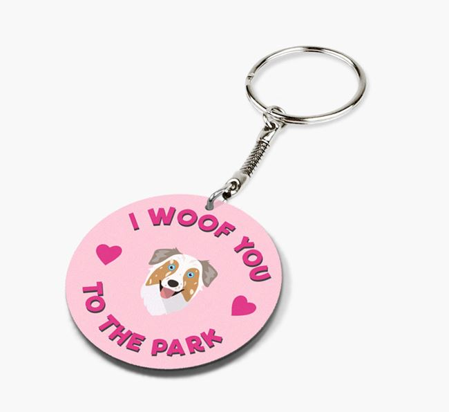 'To the Park and Back' - Personalized Australian Shepherd Double-Sided Keyring
