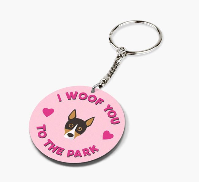 'To the Park and Back' - Personalized Basenji Double-Sided Keyring
