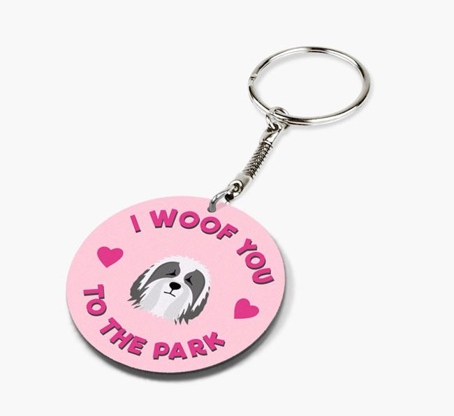 'To the Park and Back' - Personalized Bearded Collie Double-Sided Keyring