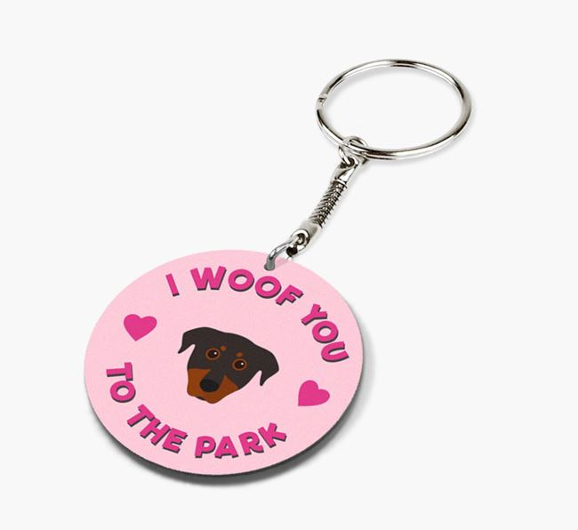 'To the Park and Back' - Personalized Beauceron Double-Sided Keyring