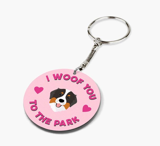 'To the Park and Back' - Personalized Bernese Mountain Dog Double-Sided Keyring