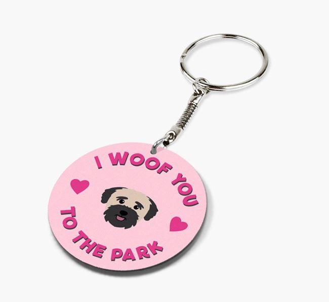 'To the Park and Back' - Personalized Bichon Yorkie Double-Sided Keyring