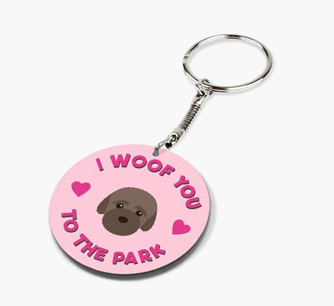 'To the Park and Back' - Personalized Bich-poo Double-Sided Keyring