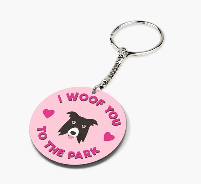 'To the Park and Back' - Personalized Border Collie Double-Sided Keyring