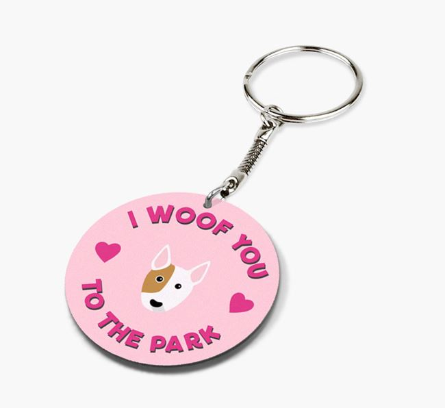 'To the Park and Back' - Personalized Bull Terrier Double-Sided Keyring