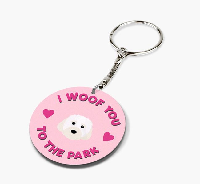 'To the Park and Back' - Personalized Cavachon Double-Sided Keyring