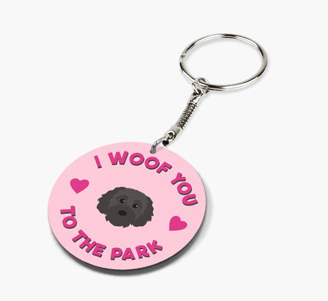 'To the Park and Back' - Personalized Cavapoochon Double-Sided Keyring