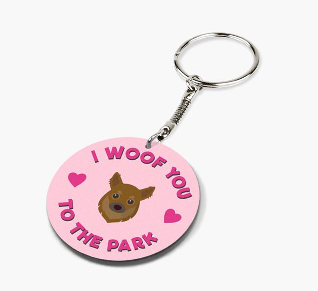'To the Park and Back' - Personalized Chihuahua Double-Sided Keyring