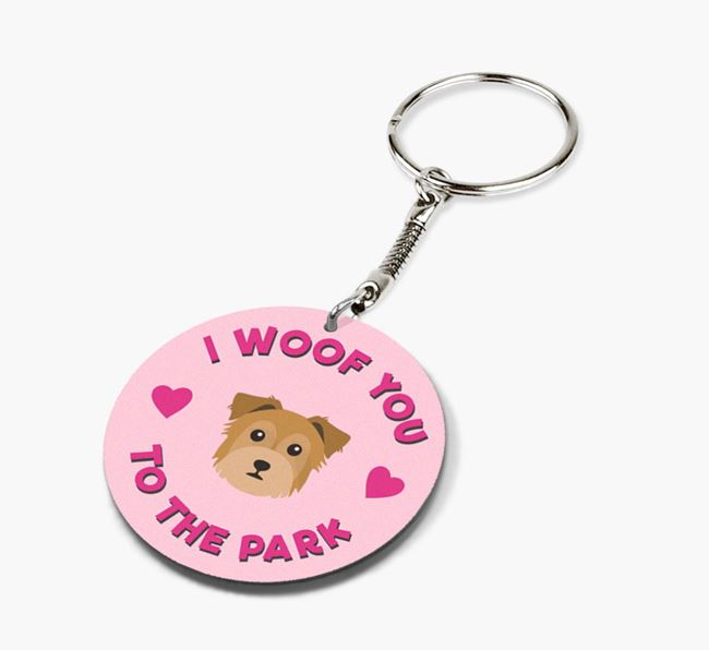 'To the Park and Back' - Personalized Chorkie Double-Sided Keyring