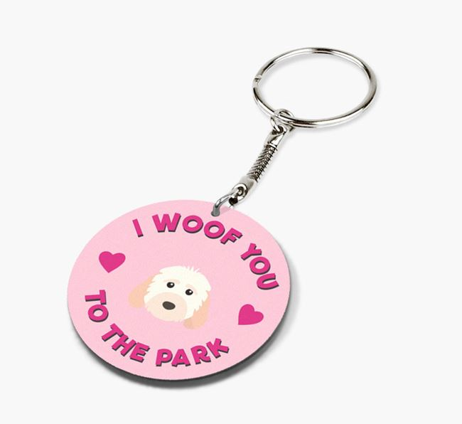 'To the Park and Back' - Personalized Cockapoo Double-Sided Keyring