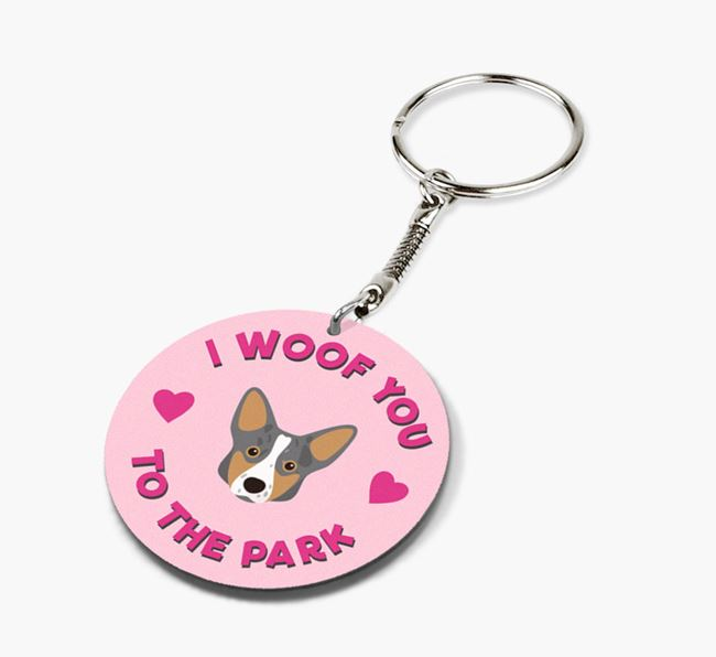 'To the Park and Back' - Personalized Corgi Double-Sided Keyring