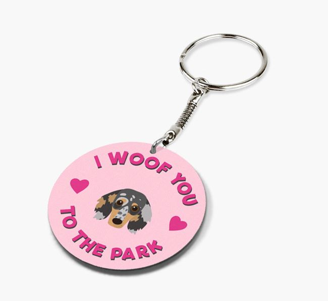 'To the Park and Back' - Personalized Dachshund Double-Sided Keyring